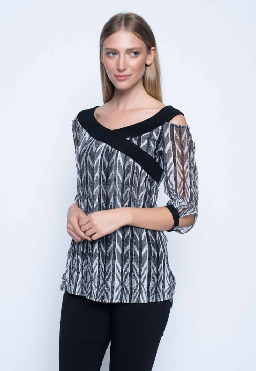 Womens cold shoulder top black and white