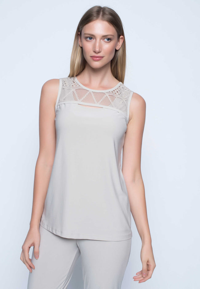 Cutout Neckline Tank Top