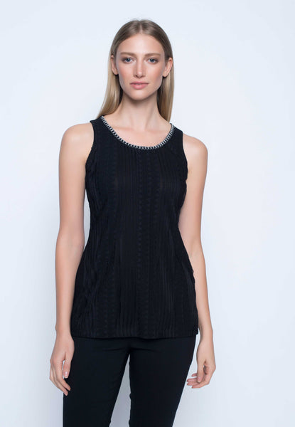 Womens embellished tank top with lace