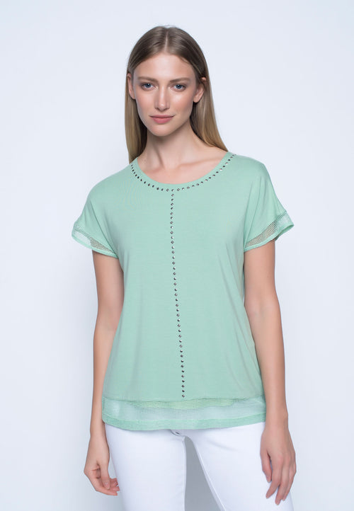 Womens green embellished top
