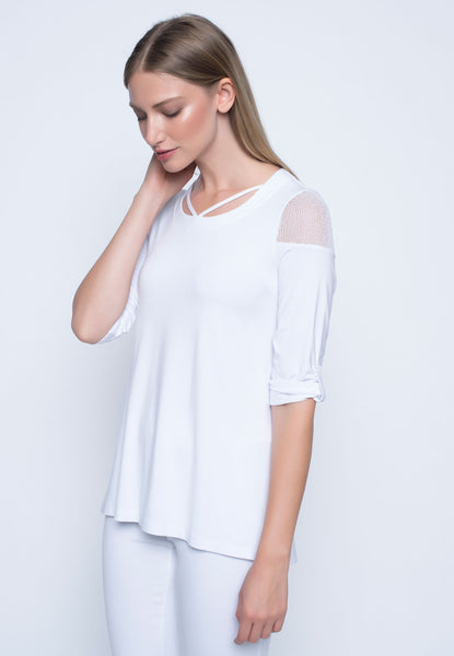Strap Neckline 3/4 Sleeve Top