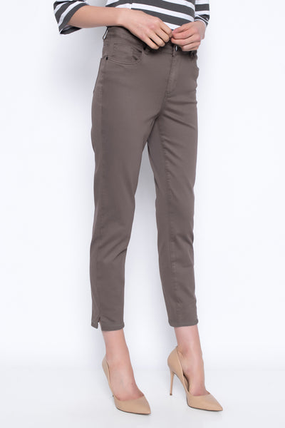 Ankle pants with cuff and rhinestone trim brown