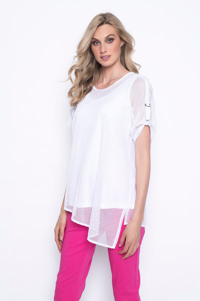 Asymmetric hem top with tape trim white