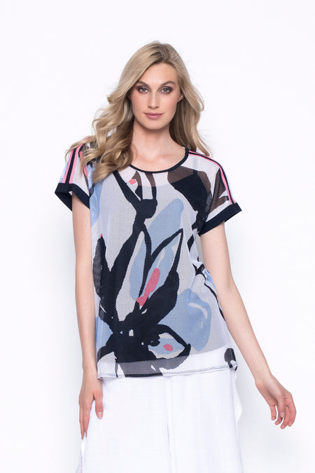 ¾ Sleeve V-Neck Custom Print Top