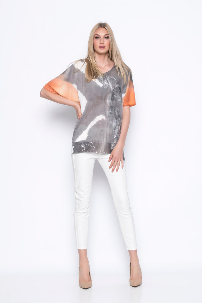 Custom Print Top With Dolman Sleeve outfit with white pants