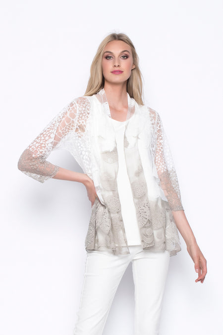 Long Lace Jacket with Snap Closure