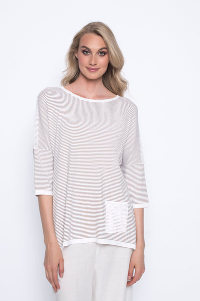 drop should stripe sweater top with pocket beige and white
