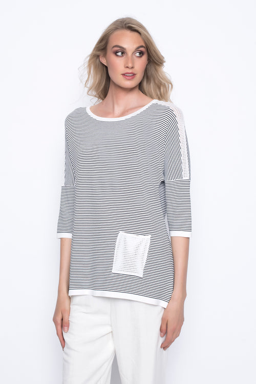 Drop Shoulder Stripe Sweater Top With Pocket