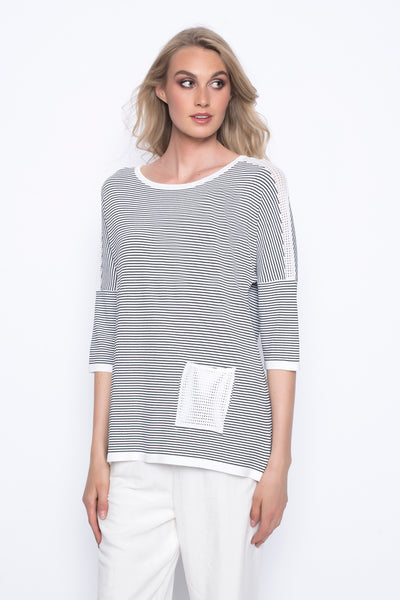 drop should stripe sweater top with pocket black and white
