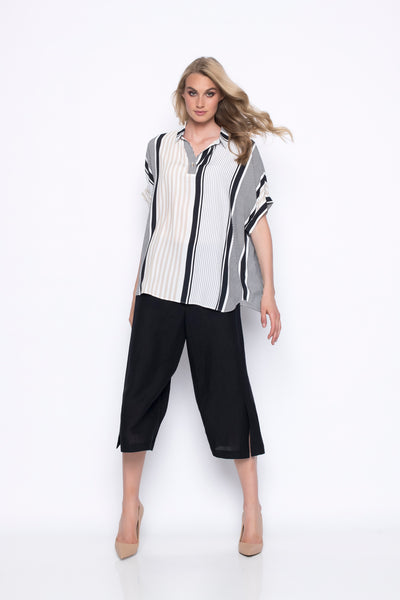 stripe collar blouse top outfit with wide leg pants