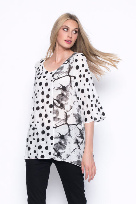 Long Sleeve V-Neck Placket Custom Print Top
