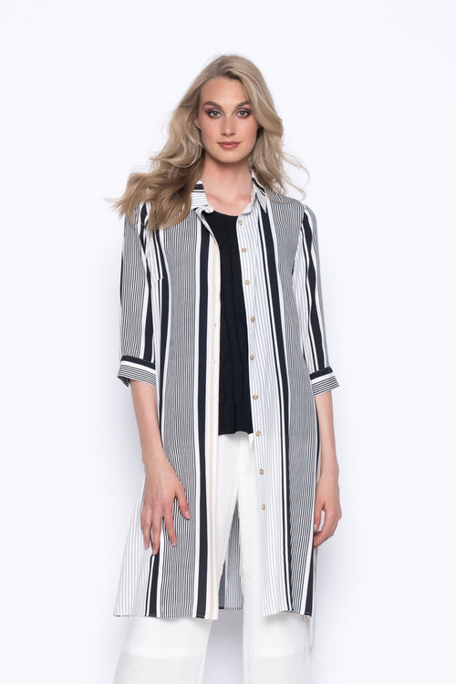 stripe printed over-sized, long button up shirt jacket with tie