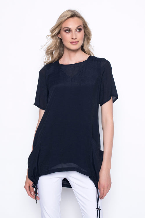 Short Sleeve Top With Drawstring