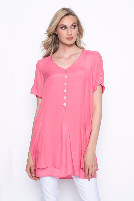 V-Neck Top With Layered Hem