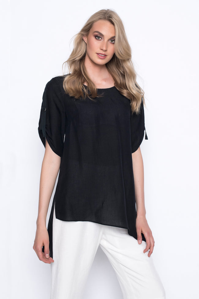 asymmetrical hem top in black