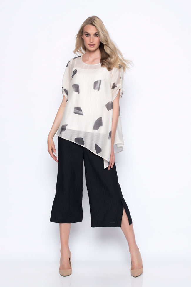 asymmetrical hem top in printed oversized polkadots full outfit with wide leg pants