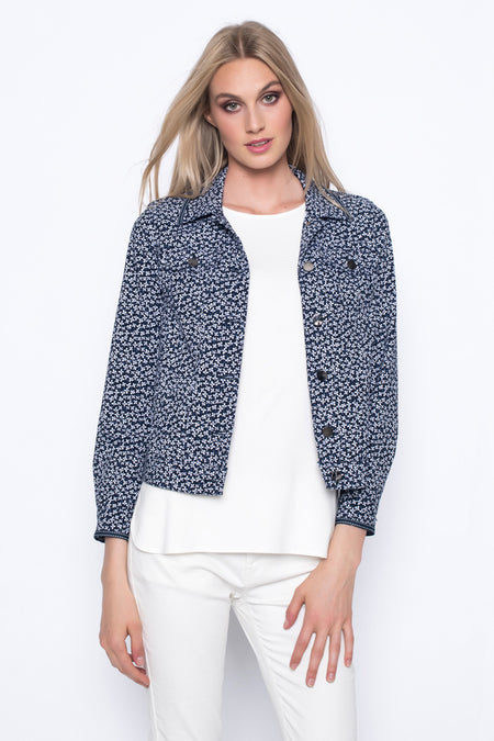 Open-Front Jacket With Trim