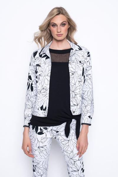Black & White Floral Stretchy Denim Jacket