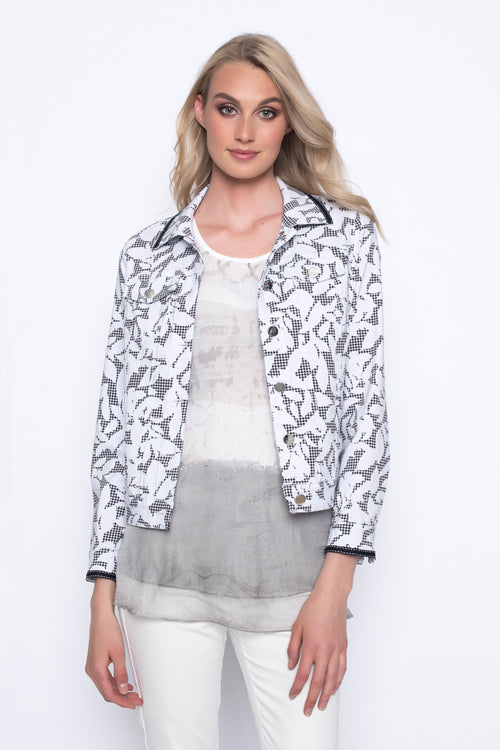 Stretchy Denim Jacket Printed With Gingham and Leaves