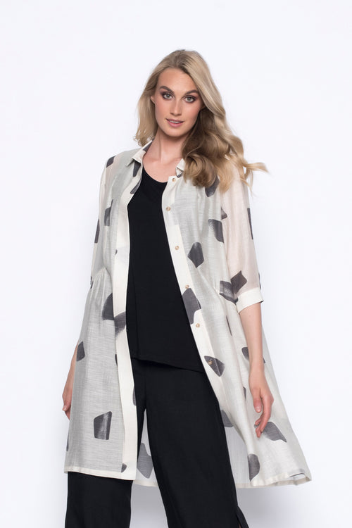over-sized, long button up jacket blouse