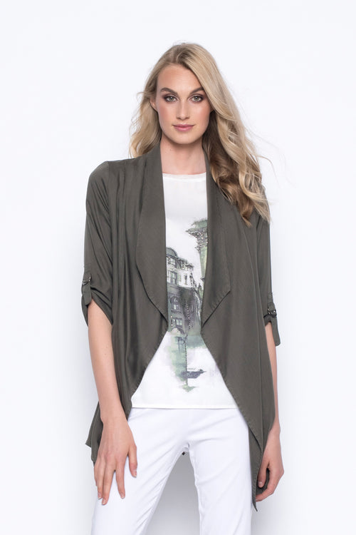 Draped Collar Open-Front Jacket