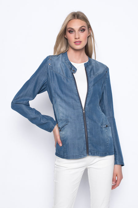Denim Jacket with Embellished Rhinestones