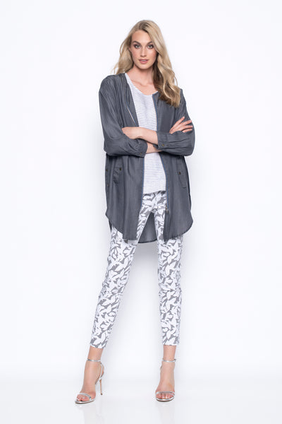 Zip-Front Long Jacket