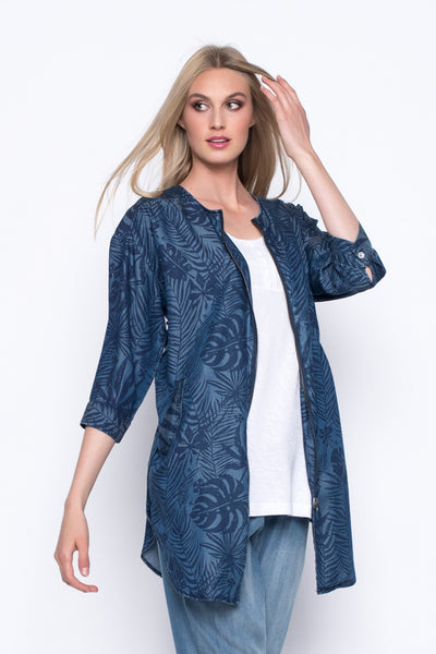 Denim Zip-Front Long Jacket
