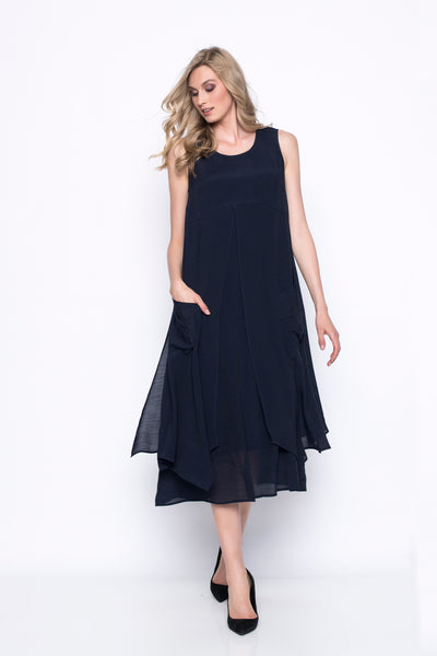 Sleeveless Layered Dress With Slits
