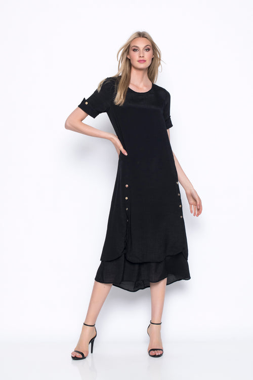 Short Sleeve Layered Long Dress