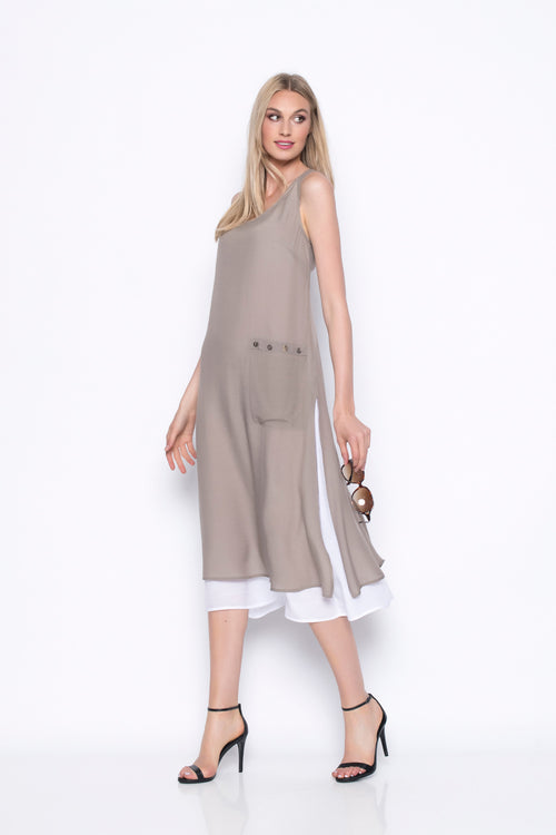 Sleeveless Long Dress With Side Pocket