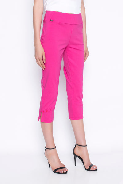 cropped pants with button detail in hot pink