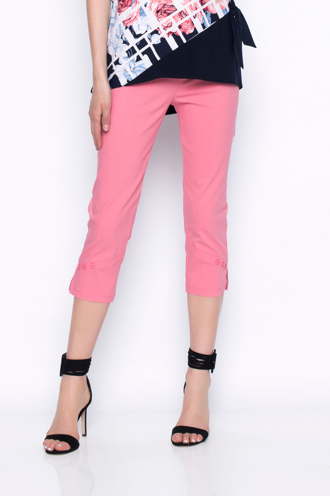 cropped pants with button detail in coral