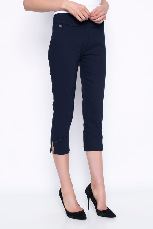 cropped pants with button detail in navy