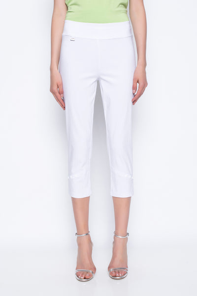 cropped pants with button detail in white
