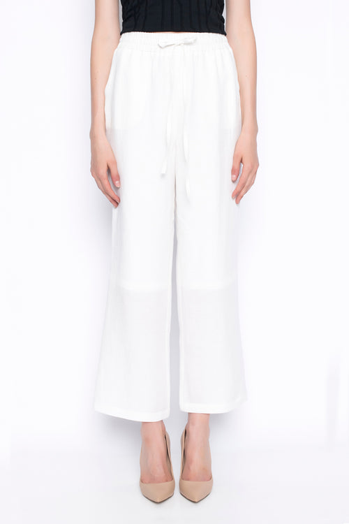 pull on straight leg pants in white with drawstring