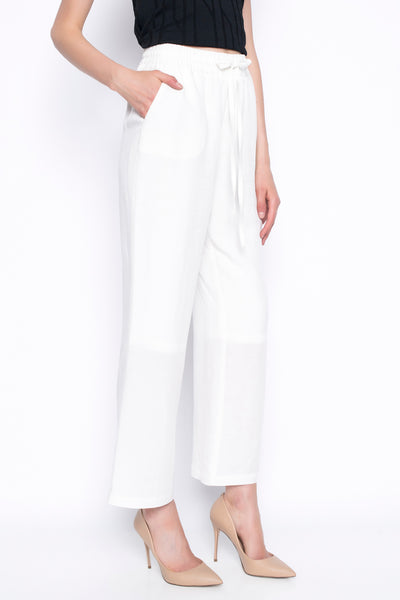 pull on straight leg pants in white with drawstring side view