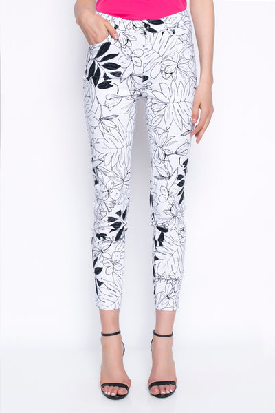 Black & White Floral Stretchy Ankle Length Pants