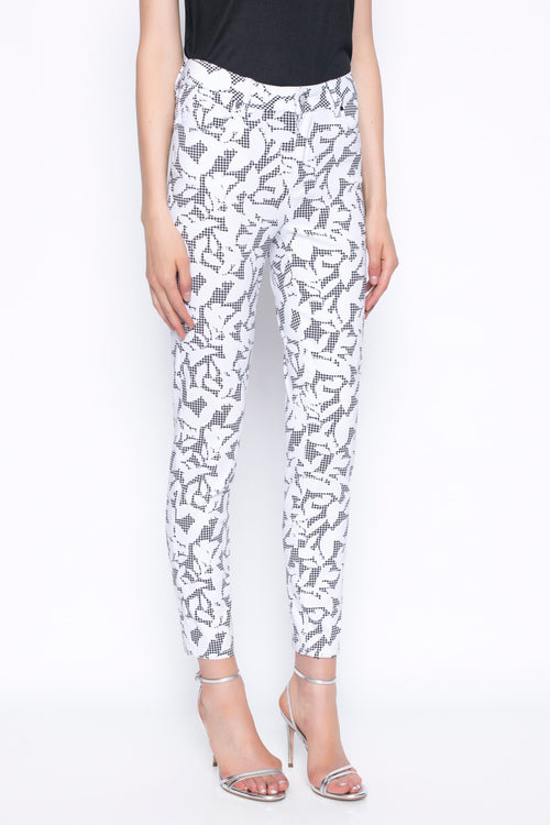 Ankle Length Pants Printed With Gingham and Leaves