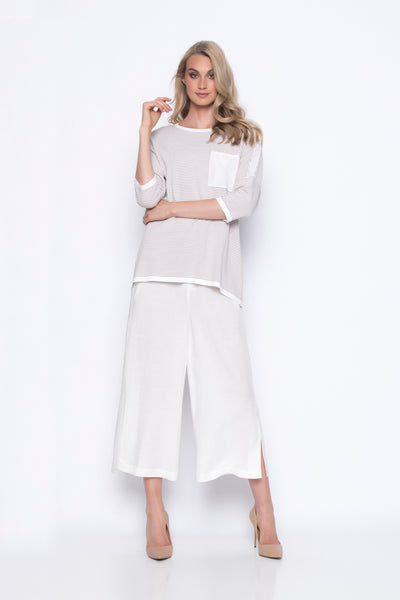wide leg cropped pants with side slits in white