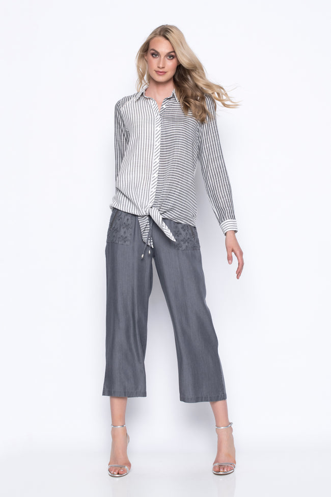 Wide-Leg Cropped Pants With Patch Pockets