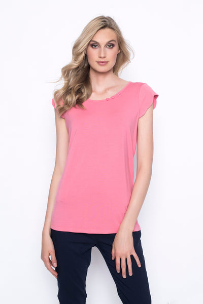 super soft and comfortable scalloped sleeve top