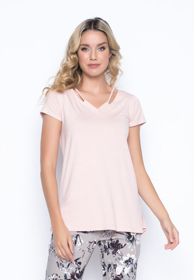 Short Sleeve Top With Neck Line Strap in pastel coral pink by picadilly canada
