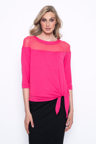 Open Knit Yoke Top With Tie