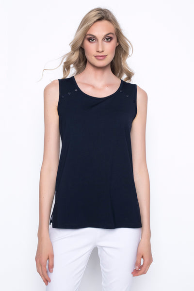 tank to with button detail on straps