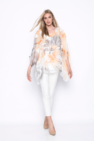 Custom Print Embellished Poncho Style Top full outfit style with white pants