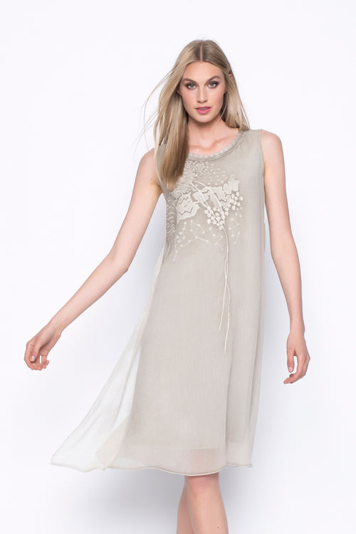 Sleeveless Embellished Chiffon Dress