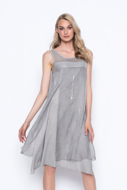 Chiffon Yoke Sleeveless Dress