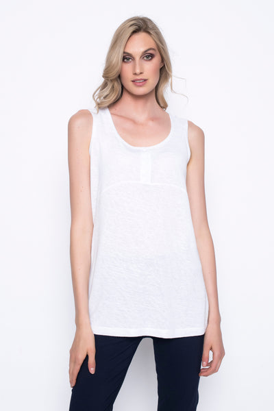 button trimmed tank top in white