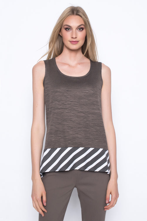 Stripe Trim Tank With Handkerchief Hem